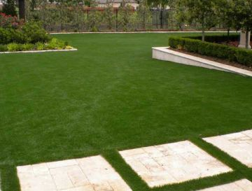 Synthetic lawn, artificial grass landscape, green backyard fake grass, artificial turf front yard, backyard.