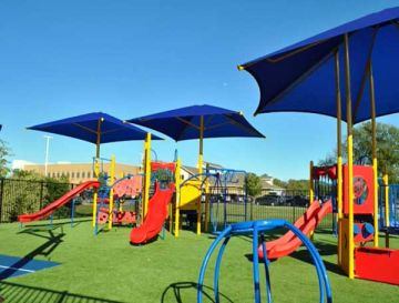 Playgrounds with artificial grass are safe and eco-friendly, safety, comfort, play sets synthetic grass, fake grass.
